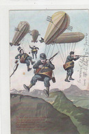 Militärischer Angriff Per Zeppelin - Sehr Originell - Feldpost    (P-66-71102) - Dirigeables