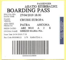 Cruise Europa - Patra-Ancona - Biglietto Di Imbarco - Boarding Pass - Europa