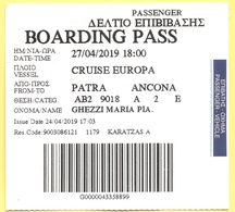 Cruise Europa - Patra-Ancona - Biglietto Di Imbarco - Boarding Pass - Carte D'imbarco Di Navi