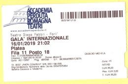 TEATRO DIEGO FABBRI FORLI' - ACCADEMIA PERDUTA ROMAGNA TEATRI - GALA' INTERNAZIONALE - 2019 - Biglietto Ingresso Platea - Biglietti D'ingresso