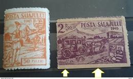 1945 POSTA SALAJULUI ROMANIA, Romania 1945, Posta Salajului 2v, 50 Filler Orange And 20p.karmin,mnh - 1918-1948 Ferdinand, Charles II & Michael
