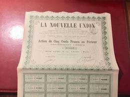 LA  NOUVELLE  UNION  ( JOURNAL   ) -------Action  De  500 Frs - Industrie