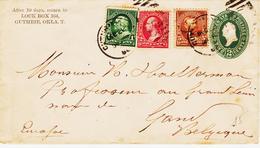 Etats Unis , De Guthrie (oklahoma )en 1890 , Entier 2c Avec Complément Pour La Belgique - Poststempel