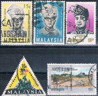 Malasia ( Federacion ) 1966 / 76  -  Michel  30 + 32 + 33 + 124 + 147  ( Usados ) - Malasia (1964-...)