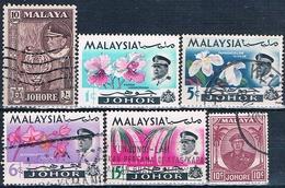 Malasia ( Estado De Johor ) 1949 / 65  -  Michel  123 + 148 + 154 + 156 + 157 + 159  ( Usados ) - Malaysia (1964-...)
