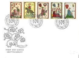 Liechtenstein 1961: Minnesänger / Ménestrels Zu 349-353 Mi 406-410 Yv 359-363 Auf FDC O VADUZ 30.5.1961 (Zu CHF 45.00) - Musique