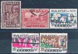 Malasia ( Estado De Kedah ) 1957 / 65  -  Michel  86 + 88 + 108 + 111 + 112  ( Usados ) - Malaysia (1964-...)