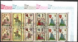 Liechtenstein 1961: Minnesänger / Ménestrels Zu 349-353 Mi 406-410 Yv 359-363 Blocks ET-o VADUZ 30.5.1961 (Zu CHF 30.00) - Liechtenstein