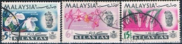 Malasia ( Estado De Kelantan ) 1965  -  Michel  92 + 93 + 95  ( Usados ) - Malasia (1964-...)