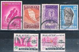 Malasia ( Estado De Malaka ) 1957 / 65  -  Michel  4A + 13 + 19 + 29 + 69 + 71    ( Usados ) - Malaysia (1964-...)