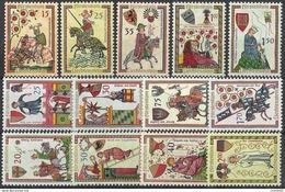 """Liechtenstein 1961/63: """"Minnesänger Ménestrels Minstrels"""" Zumstein-No. 349-353 + 357-360 + 370-37 ** MNH (Zu CHF 22.00) - Timbres"""