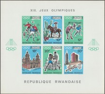 Rwanda 1968 COB Bl. 11. Non Dentelés. Jeux Olympiques De Mexico. Sports Et Archéologie, Football, Hockey, Boxe, Cactus - Summer 1968: Mexico City