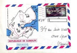 Lettre Flamme Muette Djibouti Sur Avion Istres - Djibouti (1977-...)