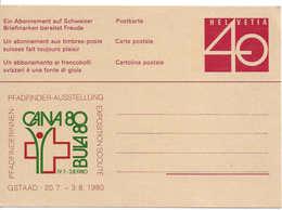 EXPOSITION SCOUTE, PFADFINDER-AUSSTELLUNG GSTAAD 1980, Entier Postal Neuf, Carte Postale, Impression Privée - Entiers Postaux