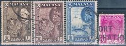 Malasia ( Estado De Salangor ) 1952 / 66  -  Michel  57 + 84 + 95 + 96  ( Usados ) - Malasia (1964-...)