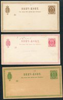 Denmark 3 X Brevkort Stationery Postcards 6ore 8ore 10ore - Postal Stationery