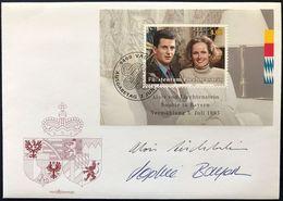 """Liechtenstein 1993: FDC """"Hochzeit Des Thronfolger-Paars""""  & AUTOGRAMME Zu 1007 Mi 1065 Block 15 Yv 1006 BF - FDC"""