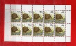 (1) NUOVA ZELANDA  **-1988- OISEAUX, KIWI Yvert. 1014a D. 13-1/2- Blocco Di 10. MNH.   Vedi Descrizione. - Blocchi & Foglietti