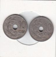 2 X 10 Centimes Léopold II 1902 FR Et 1902 FL - 1865-1909: Leopold II