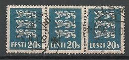 ESTLAND Estonia 1928 Michel 82 Als 3-Streife O - Estonia