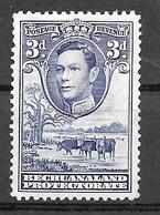 1938 3d George VI, Mint Light Hinged - Bechuanaland (...-1966)