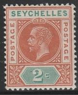 Seychelles 1912 - SG 71, 2cts - King George V - MH - Seychelles (...-1976)
