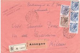 RACCOMANDATA CONTRASSEGNO CASSANO D'ADDA MILANO - 6. 1946-.. Repubblica