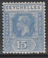 Seychelles 1921 - SG 110, 15cts - King George V - MLH - Seychelles (...-1976)