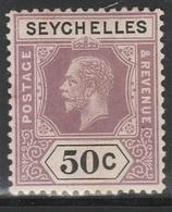 Seychelles 1917 - SG 92, 50cts - King George V - MLH - Seychelles (...-1976)