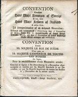 1800 Sweden Swedish Convention Russia Royal Army Document, Gustave Adolphe (cover + 8 Sides) Neutrality - Boeken, Tijdschriften, Stripverhalen
