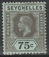 Seychelles 1917 - SG 93, 75cts - King George V - MLH - Seychelles (...-1976)