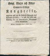 1823 Sweden Swedish Royal Commerce Stockholm Klintberg Document. J.H. Von Sydow - Books, Magazines, Comics