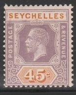 Seychelles 1921 - SG 116, 45cts - King George V - MVLH - Seychelles (...-1976)