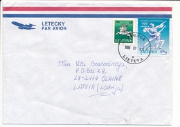 Multiple Stamps Cover - 8 July 1998 Plungė To Latvia - Lithuania