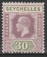 Seychelles 1921 - SG 115, 30cts - King George V - MVLH - Seychelles (...-1976)