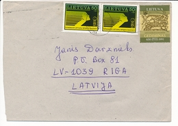 Multiple Stamps Cover - 29 May 1996 Vilnius To Latvia - Lithuania