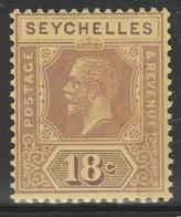 Seychelles 1921 - SG 112, 18cts - King George V - MLH - Seychelles (...-1976)