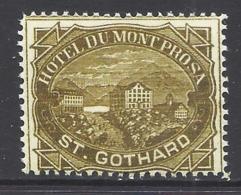 1884 : Hotelpost Nr. 37 -  St. Gothard, Nachdruck - Postfrisch ** - Suisse