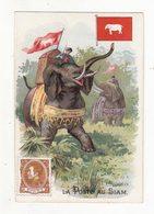 Chromo   ECLAIRAGES MAUGRAIN  Rue Chaperonnière  à Angers    La Poste Au Siam    Postier, Drapeau, Timbre, éléphant - Chromos