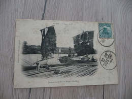 CPA Chine China Jonques Sur Le Fleuve Rouge à Ho Kéou   1 Old Stamps Circulated Cachet Hokow Paypal Ok Out Of Europe - China