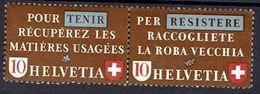 Schweiz Suisse 1942: Altstoff-Zusammendruck Se-tenant Zu Z33e Mi WZd.4 ** Postfrisch Mit Falt Pliée MNH (Zu CHF 70.00) - Se-Tenant