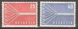 Zu 332-333 / Mi 646-647 / YT 595-596 EUROPA 1957 ** / MNH Voir Description - Suisse