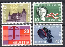 Zu 334-337 / Mi 653-656 / YT 602-605 Série Complète ** / MNH Voir Description - Suisse