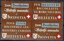 Schweiz Suisse 1942: Altstoff-Zusammendruck Se-tenant Zu Z33c Oder Z34d Mi WZd.2 Oder SZd.5 **  MNH (Zu CHF 28.00) - Se-Tenant