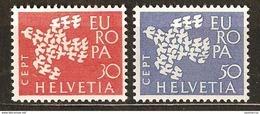 Zu 379-380 / Mi 736-737 / YT 682-683 EUROPA 1961 Série Complète ** / MNH Voir Description - Suisse