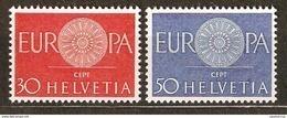 Zu 373-374 / Mi 720-721 / YT 666-667 EUROPA 1960 Série Complète ** / MNH Voir Description - Suisse