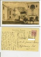 Taormina (Messina): Fontana Del Duomo E Veduta Castel Mola. Cart. Vg 1910. Carro Con Asinello - Messina