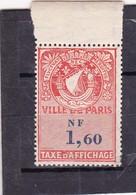 T.F. Affiches De Paris Neuf - Revenue Stamps