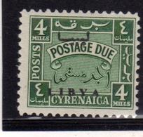 LIBIA LIBYA 1951 REGNO INDIPENDENTE CIRENAICA CYRENAICA SEGNATASSE POSTAGE DUE TASSE 4m MNH - Libya
