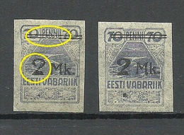 Estland Estonia 1919 Michel 20 Abart ERROR Variety MNH - Estonia